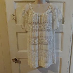 Madison Ivory Sheer Lace On/Off Shoulder Top 1X